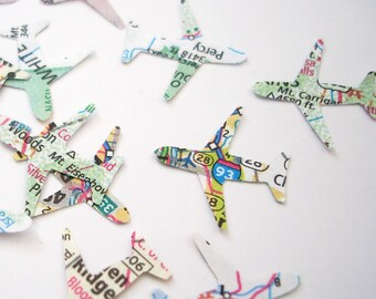 Atlas Mini Airplane Confetti 100CT, Bridal Shower Decoration, Wedding Party Supply, Travel Theme Party, Atlas Confetti, Map Party - No191