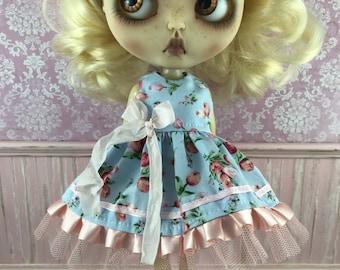Blythe Dress - Pale Blue and Apricot Floral