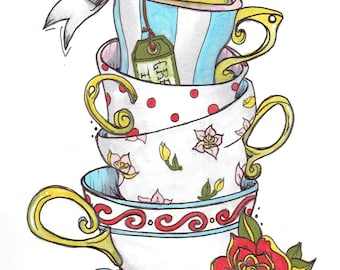 Stacked Teacups Drawing Print