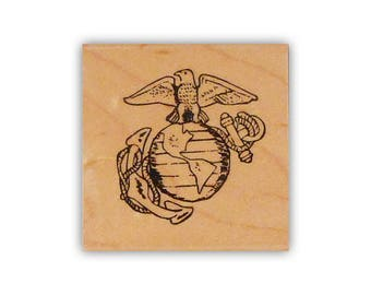 Marine Emblem mounted rubber stamp, military, USMC, Crazy Mountain Stamps No.14