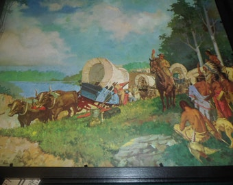 Native American Indian Wagon Train of Cowboys by Luke Doheny