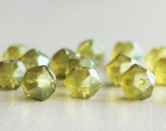 15 Chartreuse 10mm Czech Glass English Cut