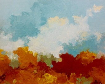 """FALL RISING, oil painting, landscape, original, 100% charity donation, 9""""x12"""" canvas panel, clouds,"""