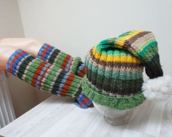 Hat and Knit long leg warmers boot cuff rainbow crochet woman girl small large medium size teen wool acrylic yoga gym fitness green pompom