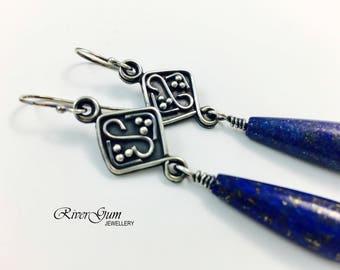 Silver Earrings, Lapis Lazuli  Earrings, Gemstone Earrings, Argentium Silver Earrings, Oxidized Earrings