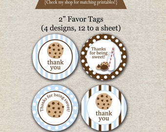 Milk and Cookies Favor Tags - blue and brown - INSTANT DOWNLOAD | Milk and Cookies Thank You Tags | Cookies Birthday Party Printables