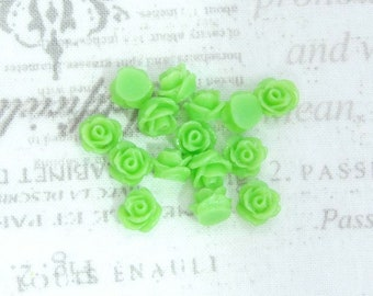 14 8mm Green Rose Cabochons 8mm Green Flower Cabochons Apple Green Cabochons