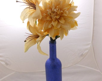 Glitter Wine Bottle with Artificial Flowers