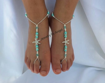 Beach wedding barefoot sandals-Kids foot jewelry Rhinestone starfish barefoot sandals Barefoot Sandals Kids shoes Footless sandals Blue