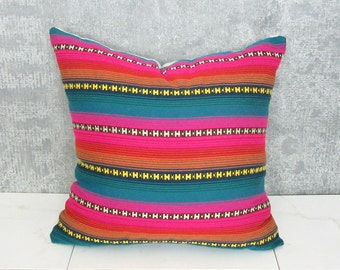 Argentina Textile Throw Pillow Cover / Hot Pink Teal Mustard Saffron Yellow Orange Ethnic Textile Central America Decoraive Throw Cushion