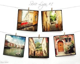 Set of five cards postcards artistic 14x14cm - series Lyon 01