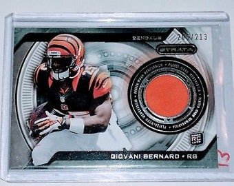 Nfl Giovani Bernard Topps Strata Rookie GAME-WORN Jersey Patch Relic /213