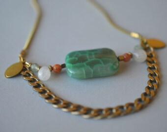 Beaded Necklace, Gold Brass, Gemstone Beads, Agate, Carnelian, Botswana Agate, Aventurine, Women Jewelry, Handmade