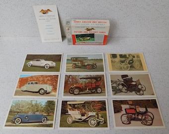 1961 Milton Bradley American Heritage Cards, Antique Automobiles, Cars, Picture and History Cards, Complete Set, Original Box, Ephemera