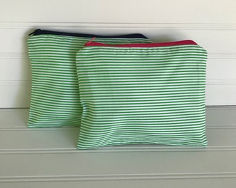 Green and White Striped Pouch   Handmade Zipper Pouch