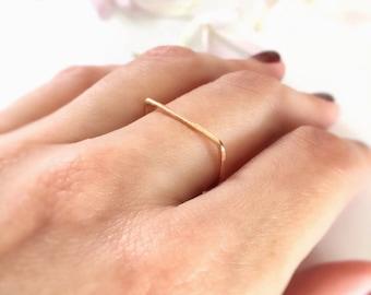 Flat Top Ring, Flat Ring, Luna Ring, Stacking Ring, Gold Bar Ring, Gold Ring, Silver Ring, Rose Gold Ring, Gold Band Ring