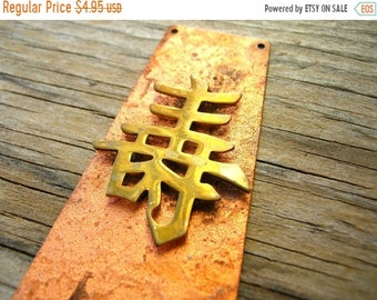 Supply Clearance Vintage Asian Pendant - Modern Pendant - Copper Tone Pendant - Vintage Pendant - Chinese symbol