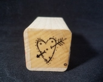 Polka Dot Heart With Arrow through it  Valentines Day Used Rubber Stamp