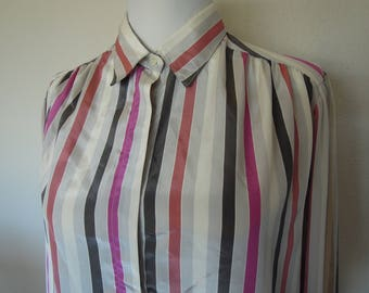 Vtg Candy Stripe Silky Polyester Blouse Small Medium Large  80's