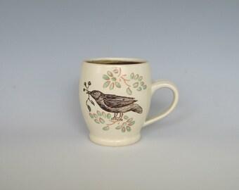 Mug Ceramic Pottery Nesting Bird With Leaves