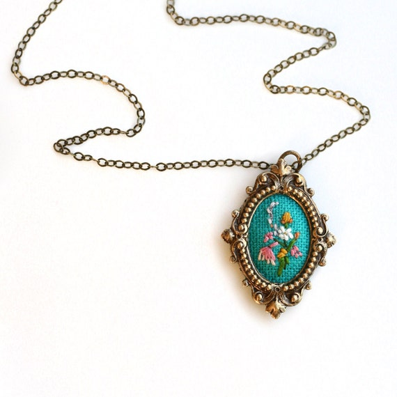 Lil With Lavender and Lace- hand embroidered necklace, floral, bouquet, turquoise, pink, garden