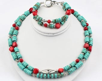Necklace that has Red Coral Necklace that has Turquoise Red Necklace Necklace that has Coral & Turquoise Necklace Set Stone Necklace