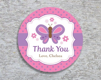 Personalized Butterfly Party Favor Tags or Stickers – 2, 2.5 or 3 Inch Circle – DIY Printable  (Digital File)