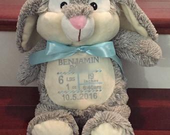Bunny Stuffed Animal or Baby Stats Keepsake