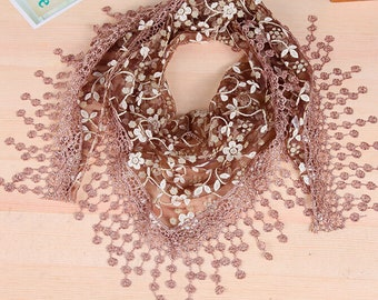 Lace, Floral Scarf/Shawl, with Fringed Lace Edging in several Colors-SALE!