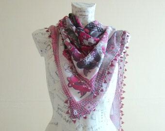Summer scarf square cotton scarf cotton flower scarf crochet pareo wrap beach pareo cotton pareo summer scarfs crochet edge pareo scarf