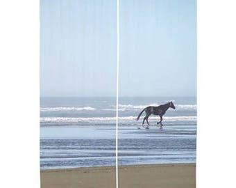 Sheer Curtains - Horse, Equine, Beach, Ocean, Sea, Home Decor, nature photography by RDelean Designs