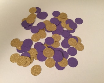 200 Purple Gold Confetti, Baby Shower Confetti, Wedding Confetti, Bridal Shower, Circle Confetti, Birthday Party, Gold Glitter Confetti