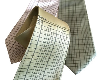 Accountant Necktie. Ledger Paper tie. Accounting gift, tax professional, CPA gift, tax preparer, tax season gift. Silkscreened men's tie.