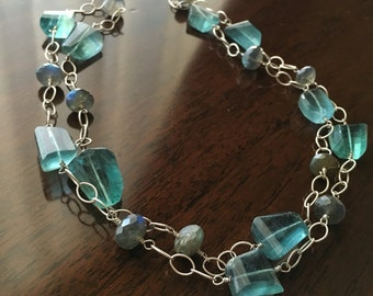 Fluorite and Labradorite Sterling Silver Necklace, Ready to Ship...Free Shipping