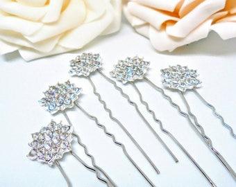Bridal hair pins, hair pins, wedding hair pins, rhinestone hair pins, flower hair pins, bridesmaid hair pins, wedding hair accessories.