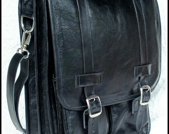 Diaz Leather Messenger Satchel Backpack in Florencia Black, 15in MacBook Laptop