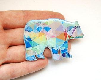 animal brooch , statement brooch , hipster gift ideas , hipster gift for her , polar bear brooch , polar bear