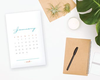 2018 Printable Monthly Calendar - Elegant Turquoise 12 Month Desk Calendar - Home Organizing - 2018 Instant Download Calendar