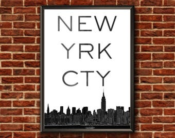 New York City Print | New York Typography Print | New York Skyline Art | New York Skyline | New York Poster | New York Wall Art