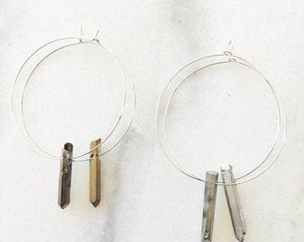 Titanium Quartz Crystal Point Hoop Earrings