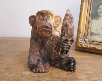 Hand Carved Monkey Eating a Banana, Distressed