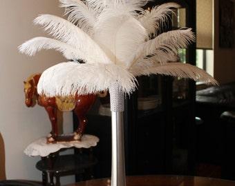 "Ostrich Feather Centerpiece 16""-Silver-Eiffel Tower-Wedding--Sweet 16-Anniversary-Birthday-Hollywood-Party-Gatsby-Roaring 20s-Bridal Shower"