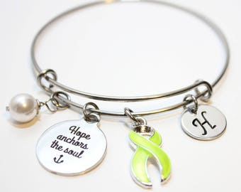 lyme disease bracelet, Lyme disease awareness bracelet, lyme disease ribbon awareness bracelet, lyme disease green ribbon charm bracelet
