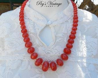 Vintage Orange/Reddish Translucent Bead Necklace