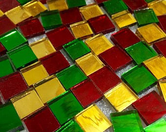 AUSPICIOUS MIRROR MIX Colored Stained Glass Mosaic Tile M3