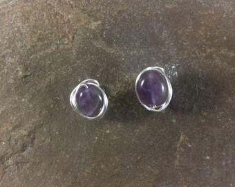 Purple Stud Earrings, Raw Amethyst Earrings, Amethyst Stud Earrings, Wire Wrapped Stud Earrings, February Birthstone, Gift for Mom, for Wife