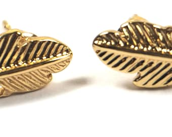 Gold Plated Leaf Earrings, Studs, Everyday Earrings, Gifts