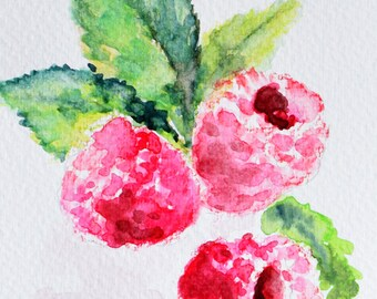 Original Watercolor Painting, Still Life, Raspberry Painting, Fruit Art 4x6 Inch