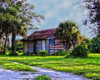 Florida Southern Rustic Old Glory American  Flag  - Fine Art Photograph Print Picture