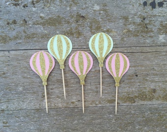 Hot air Balloon cupcake topper Mint and Pink - 12 count Pink and Mint Cupcake toppers Hot air balloon